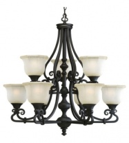 Thomasville Lighting Guildhall Collection 3-Light Forged Black Foyer Pendant